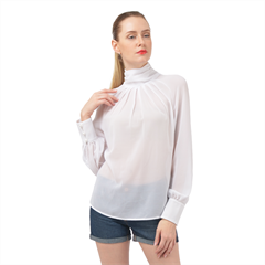 High Neck Long Sleeve Chiffon Top